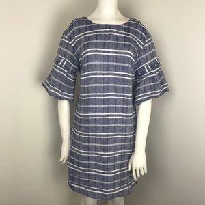 Caslon Blue & White Stripe Linen Bell Sleeve Dress